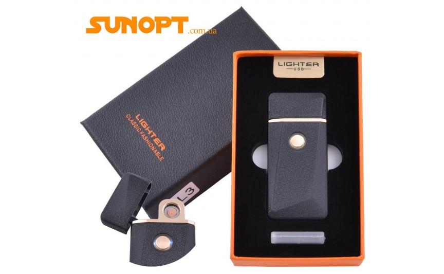 USB зажигалка в подарочной упаковке Lighter (Спираль накаливания) №HL-3 Black