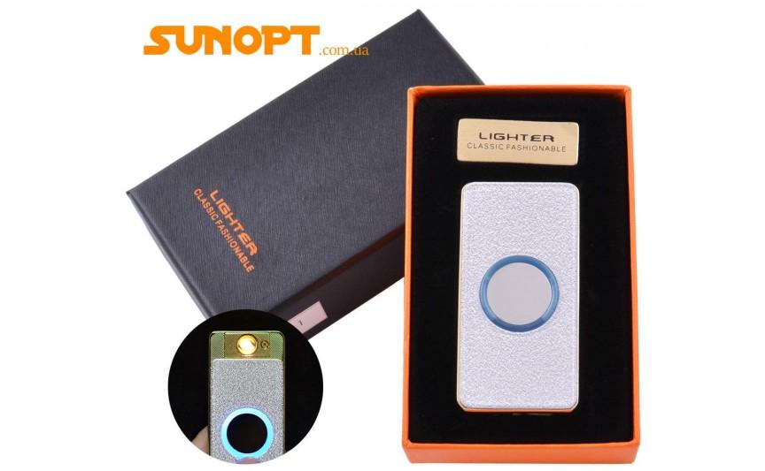 USB зажигалка-слайдер в подарочной упаковке Lighter (Спираль накаливания) №HL-11 White