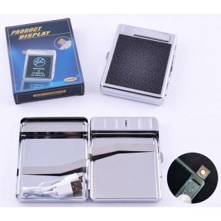 Портсигар + USB запальничка на 20 цигарок (Спіраль розжарювання) №4978-1