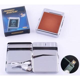 Портсигар + USB запальничка на 20 цигарок (Спіраль розжарювання) №4978-2