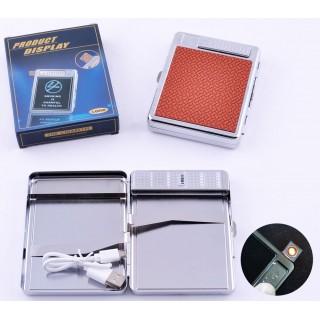 Портсигар + USB запальничка на 20 цигарок (Спіраль розжарювання) №4978-3
