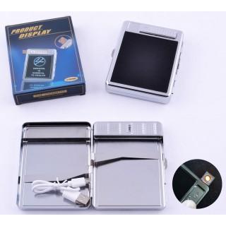 Портсигар + USB запальничка на 20 цигарок (Спіраль розжарювання) №4978-6