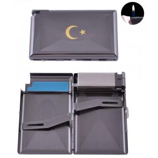 Портсигар + запальничка на 16 цигарок Прапор Туреччини (Звичайне полум'я) №XT-3304-5