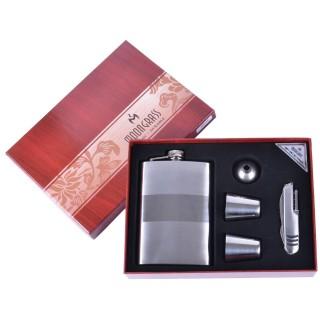 Подарочный набор 5в1 Moongrass Фляга/ Рюмки/ Нож/ Лейка №BB-016