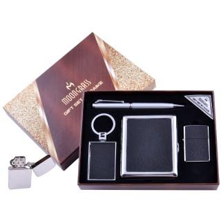 Подарочный набор 4в1 Moongrass Портсигар/Зажигалка/Ручка/Брелок (Кожа) №AL-204B