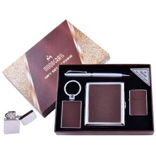 Подарочный набор 4в1 Moongrass Портсигар/Зажигалка/Ручка/Брелок (Кожа) №AL-204E
