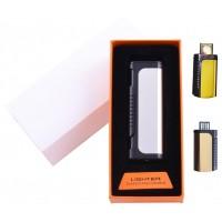 USB  зажигалка в подарочной упаковке Lighter (Спираль накаливания) №HL-35 Silver