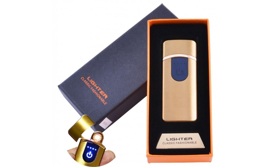 USB  зажигалка в подарочной упаковке Lighter (Спираль накаливания) №HL-43 Gold