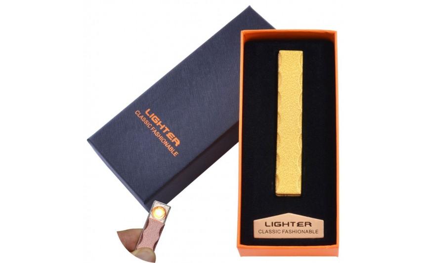 USB  зажигалка в подарочной упаковке Lighter (Спираль накаливания) №HL-47 Gold