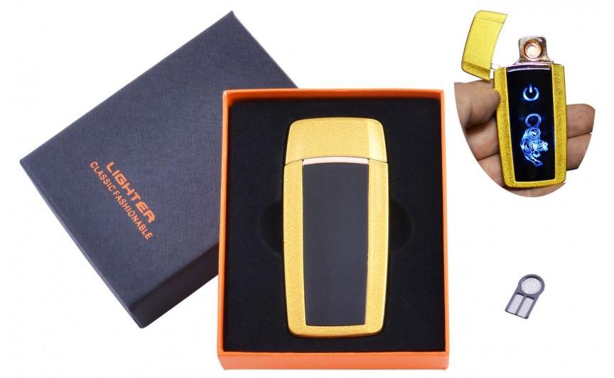 USB  зажигалка в подарочной упаковке Тигр (Спираль накаливания) №HL-55 Gold