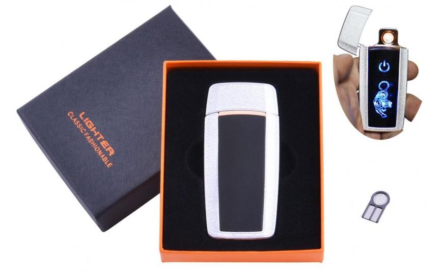 USB  зажигалка в подарочной упаковке Тигр (Спираль накаливания) №HL-55 White