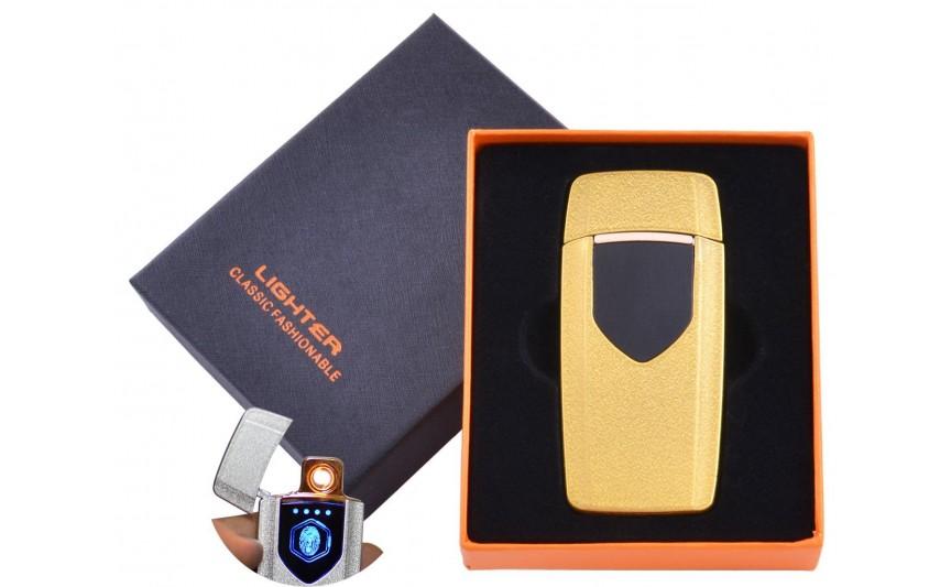 USB  зажигалка в подарочной упаковке Lighter (Спираль накаливания) №HL-57 Gold