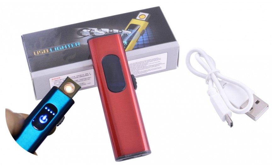 USB  зажигалка в подарочной упаковке Lighter (Спираль накаливания) №HL-59 Red