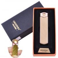 USB  зажигалка в подарочной упаковке Lighter (Спираль накаливания) №HL-60 Gold