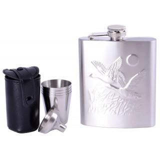 Подарунковий набір з флягою для чоловіків (Фляга / 4 стопки / лійка) №QK-16-4
