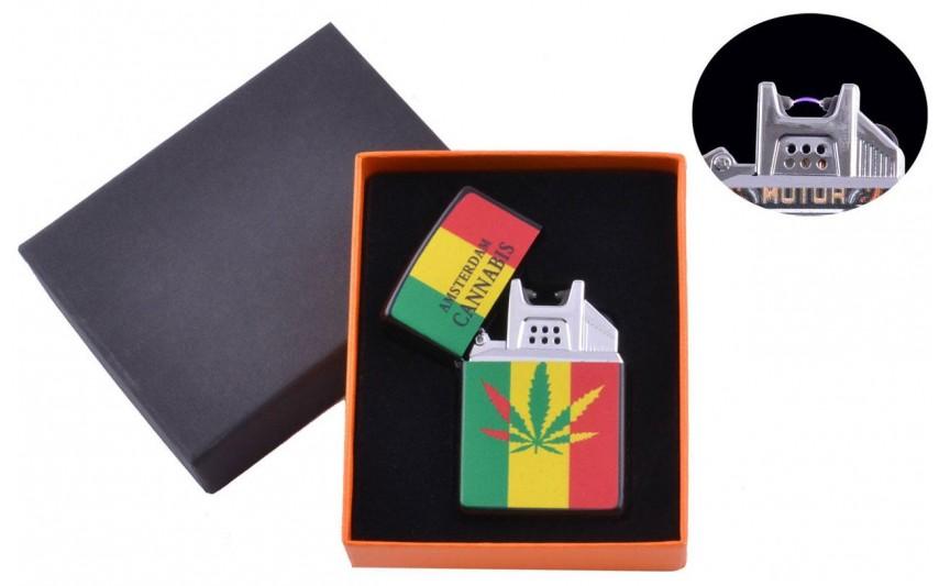 USB  зажигалка Cannabis (Электроимпульсная) №4776B-4
