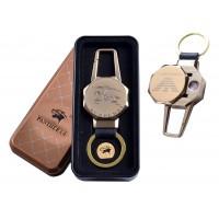 USB зажигалка в подарочной металлической коробке (брелок + фонарик) №4687B-2