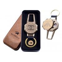 USB зажигалка в подарочной металлической коробке (брелок + фонарик) №4687B-5