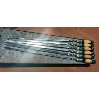 Набір шампурів з нержавіючої сталі з дерев'яною чернобілою ручкою