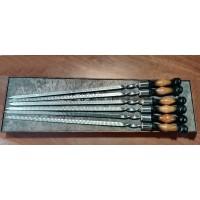 Набор шампуров из нержавейки с деревяной черножелтой ручкой