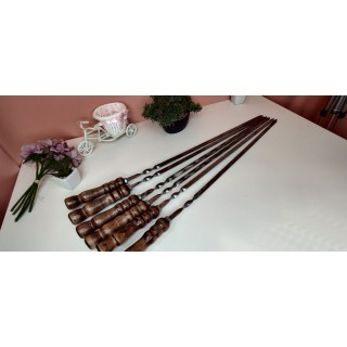 Набір шампурів з нержавійки з дерев'яної полакованою ручкою