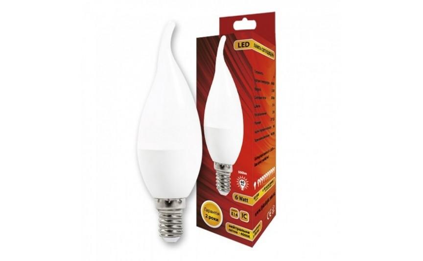 Cветодиодная лампа C37L Свеча на ветру 6W 4000K E14 IC