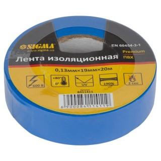 Ізолента ПВХ (синя) 0,13 мм×19мм×20м Premium Sigma (8411411)