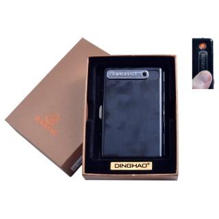Портсигар + USB запальничка (На 10 цигарок, Спіраль розжарювання) №4846 Black