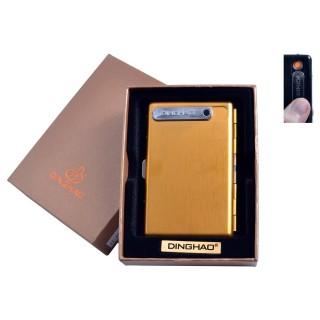 Портсигар + USB запальничка (На 10 цигарок, Спіраль розжарювання) №4846 Gold