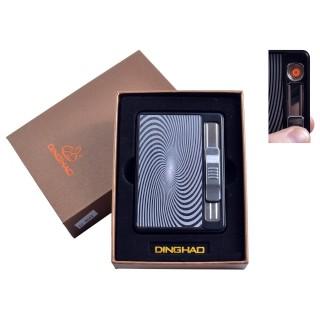 """Портсигар + USB запальничка з викидом сигарет """"Абстракція"""" (На 10 сигарет, Спіраль розжарювання) №4844-4"""