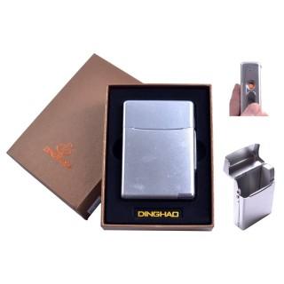 Портсигар + USB запальничка (Під цигаркову пачку, Спіраль розжарювання) №4845 Silver