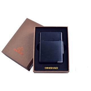 Портсигар + USB запальничка (Під цигаркову пачку, Спіраль розжарювання) №4845 Black
