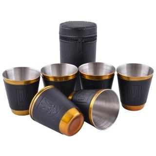 Похідні чарки з нержавіючої сталі Україна (6 шт) №PQ-15-6 Black