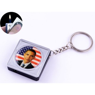 Зажигалка карманная-брелок квадрат Барак Обама №2312-7