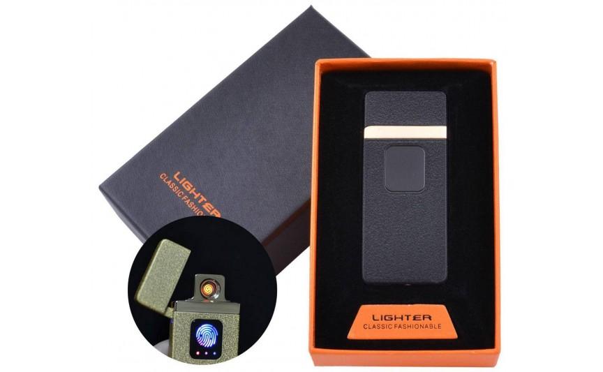 USB зажигалка в подарочной упаковке Lighter (Спираль накаливания) №HL-7 Black