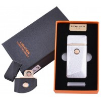 USB зажигалка в подарочной упаковке Lighter (Спираль накаливания) №HL-3 Silver