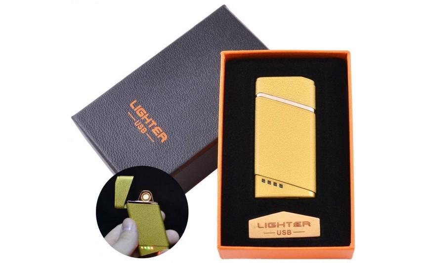USB запальничка в подарунковій упаковці Lighter (Спіраль розжарювання) №HL-18 Gold