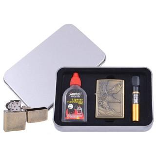 Зажигалка бензиновая в подарочной коробке (Баллончик бензина/Мундштук) Взлетающий Орел №XT-4711-1