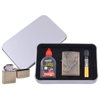 Зажигалка бензиновая в подарочной коробке (Баллончик бензина/Мундштук) Летящий Орел №XT-4711-2