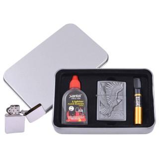 Зажигалка бензиновая в подарочной коробке (Баллончик бензина/Мундштук) Летящий Орел №XT-4711-7