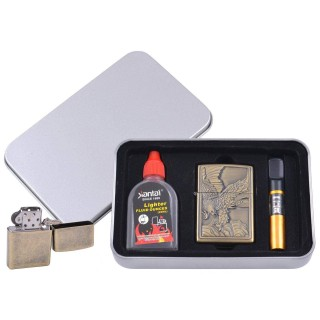 Зажигалка бензиновая в подарочной коробке (Баллончик бензина/Мундштук) Орел на охоте №XT-4711-4
