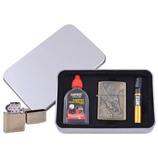 Зажигалка бензиновая в подарочной коробке (Баллончик бензина/Мундштук) Пикирующий Орел №XT-4711-3