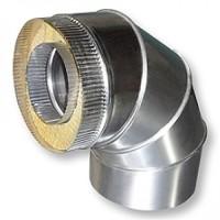 Колено 90˚ для дымохода из нержавеющей стали с термоизоляцией в оцинкованном кожухе d 140/200