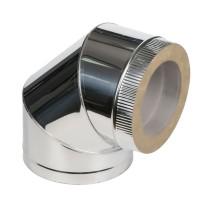 Колено 90˚ для дымохода из нержавеющей стали с термоизоляцией (нерж/нерж) d 130/200