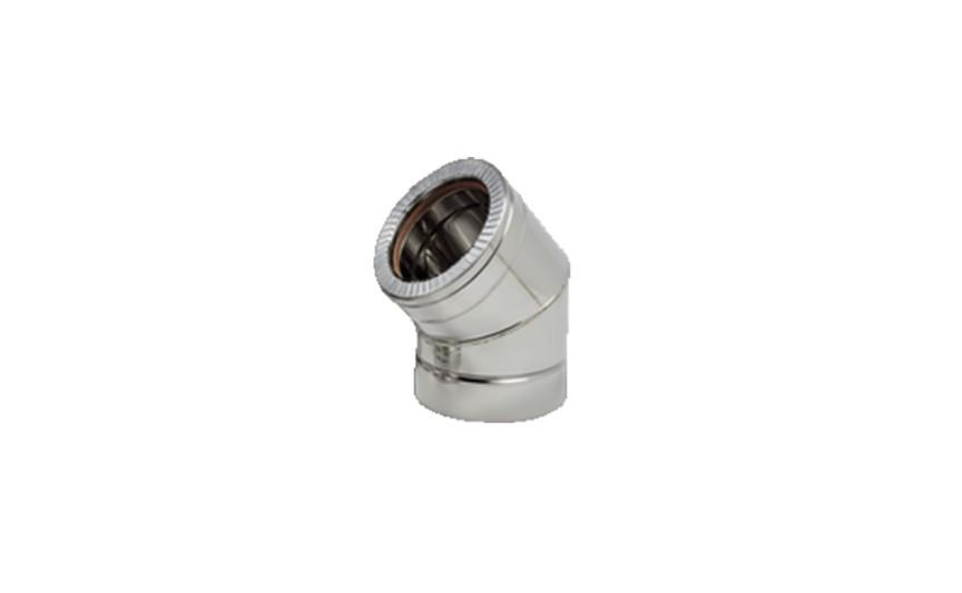Колено 45˚ для дымохода из нержавеющей стали с термоизоляцией (нерж/нерж) d 160/220