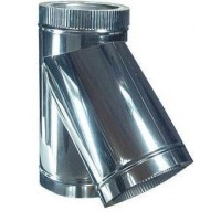 Трійник для димоходу з нержавіючої сталі з термоізоляцією в оцинкованому кожусі 45 ° d 120/180