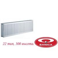Стальной панельный радиатор Sanica pkkp 22 300×1100