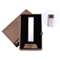 USB зажигалка в подарочной упаковке (спираль накаливания, белая) №4822-1