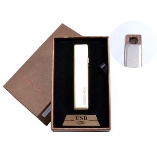 USB зажигалка в подарочной упаковке (спираль накаливания, золотой) №4822-5