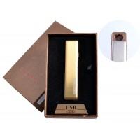 USB зажигалка в подарочной упаковке (спираль накаливания, золото) №4822-2
